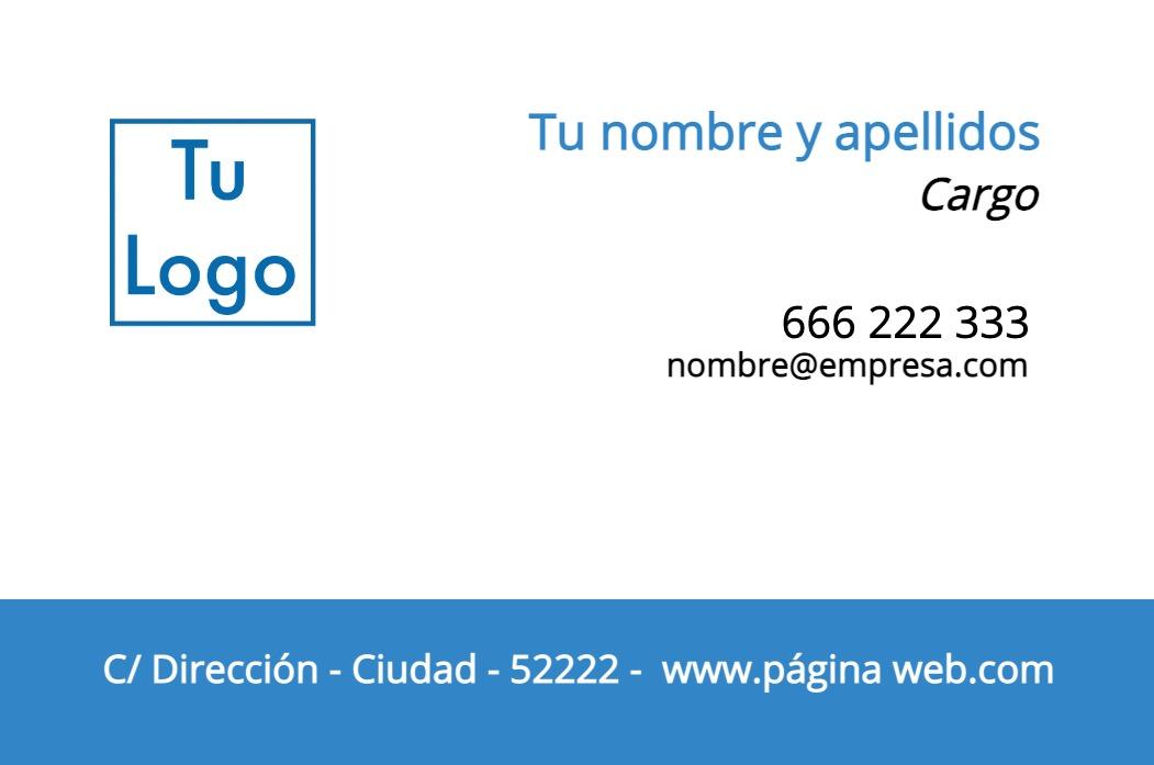 Tarjetas visita blanco 85x55 horizontal Azul