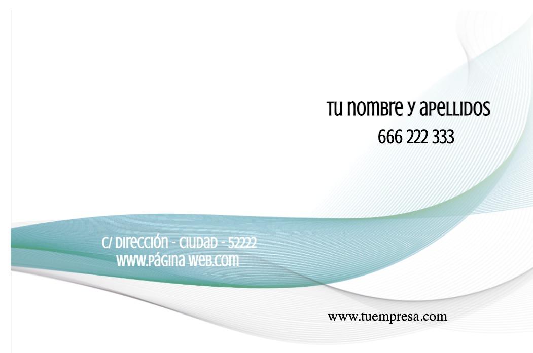 Tarjetas visita blanco 85x55 horizontal banda azul