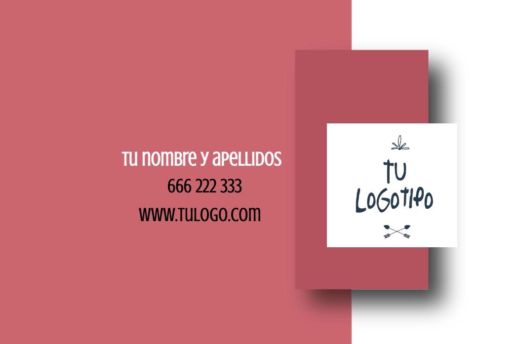 Tarjetas visita blanco 85x55 horizontal fondo rosa con sombreado