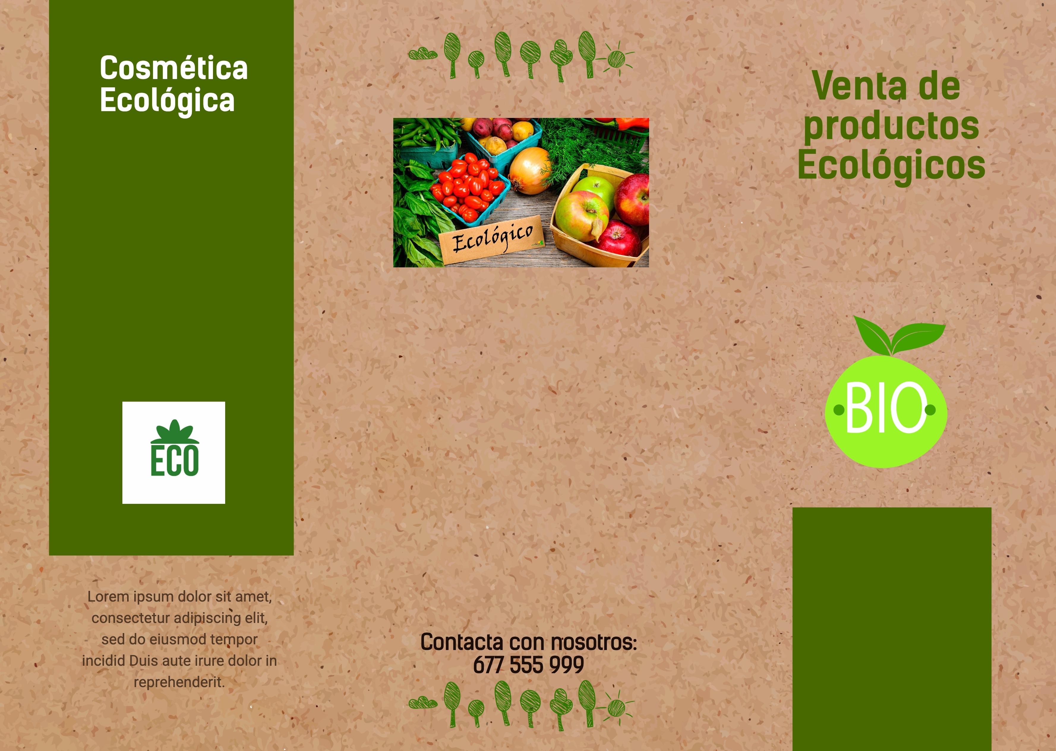 Trípticos retiro de Productos ecologicos